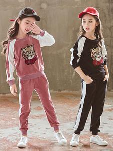 20 女童春款金丝绒洋气套装2019新款韩版儿童时髦运动中大童两件
