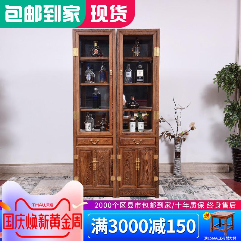 仙铭源鸡翅木酒柜红木家具 新中式实木客厅玻璃展示书橱柜储物柜