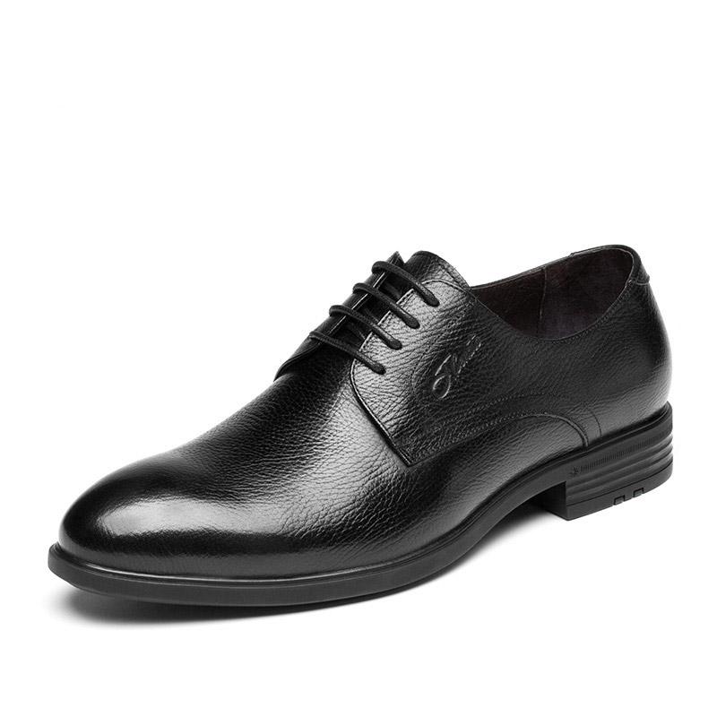 宾度男鞋秋冬季男士商务正装皮鞋男英伦尖头鞋真皮青年潮鞋子