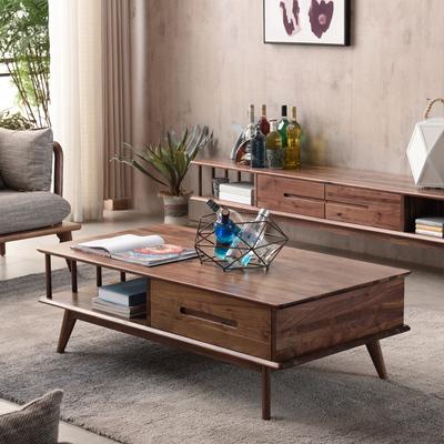 优粤北欧黑胡桃木实木茶几日式现代简约客厅小户型茶桌电视柜组合