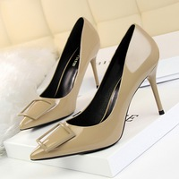 1785-1 han edition fashion professional OL with patent leather high heels for women's shoes heel shallow pointed mouth square buckle shoes