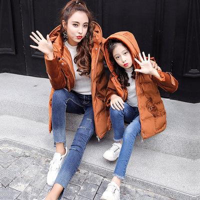 轻奢亲子装秋冬装母女装2017新款外套中长款夹棉袄棉衣时尚韩版潮