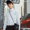 UOOHE秋季新款长袖衬衫男 白色韩版花卉刺绣休闲文艺青年衬衣潮