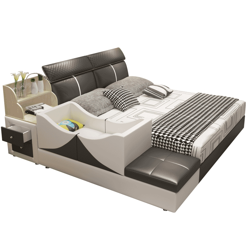 Tatami Bed Master Bedroom Modern Leather Bed Wedding Bed Modern Minimalist Leather Bed 2 M Multi
