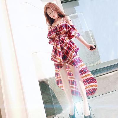 型色缤纷夏装新款名媛风性感气质海边度假沙滩裙燕尾吊带连衣裙仙
