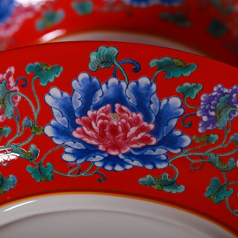 Jingdezhen ceramic colored enamel double layer cake pan European ceramic snack plate afternoon tea fruit bowl dessert plate