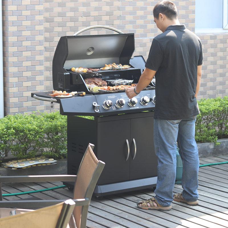 美式六爐頭燒烤架家用別墅木炭燃氣液化氣燒烤爐庭院烤肉工具全套