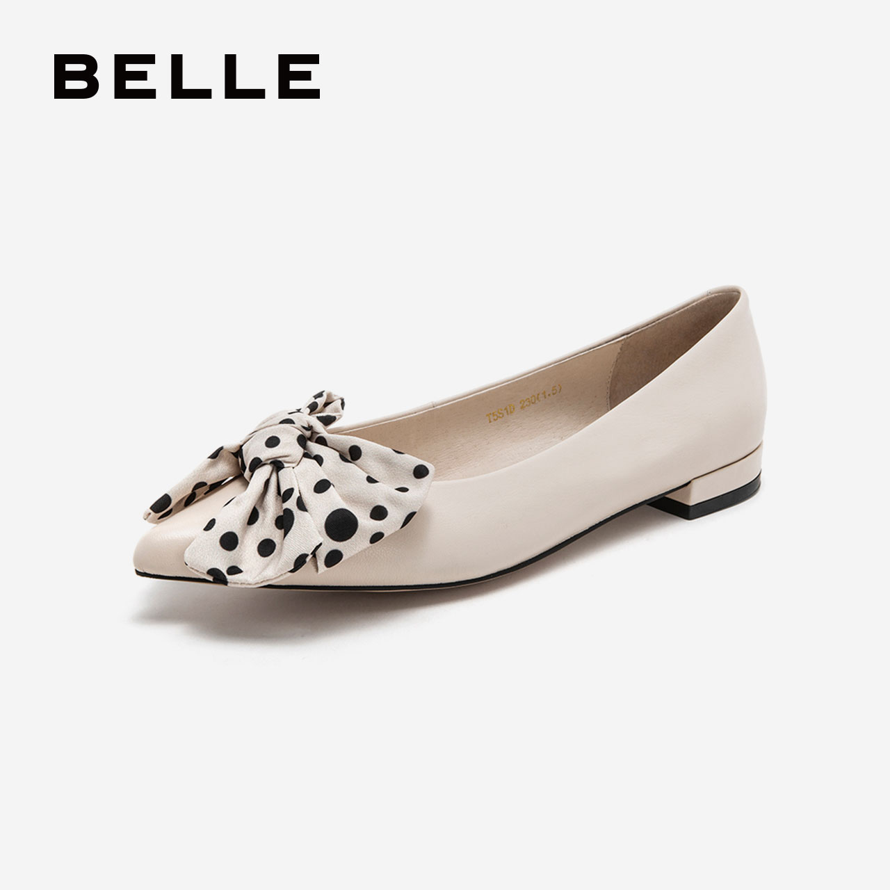 百丽单鞋女婚鞋2019春新商场同款仙女蝴蝶结粗跟休闲鞋T5S1DAQ9