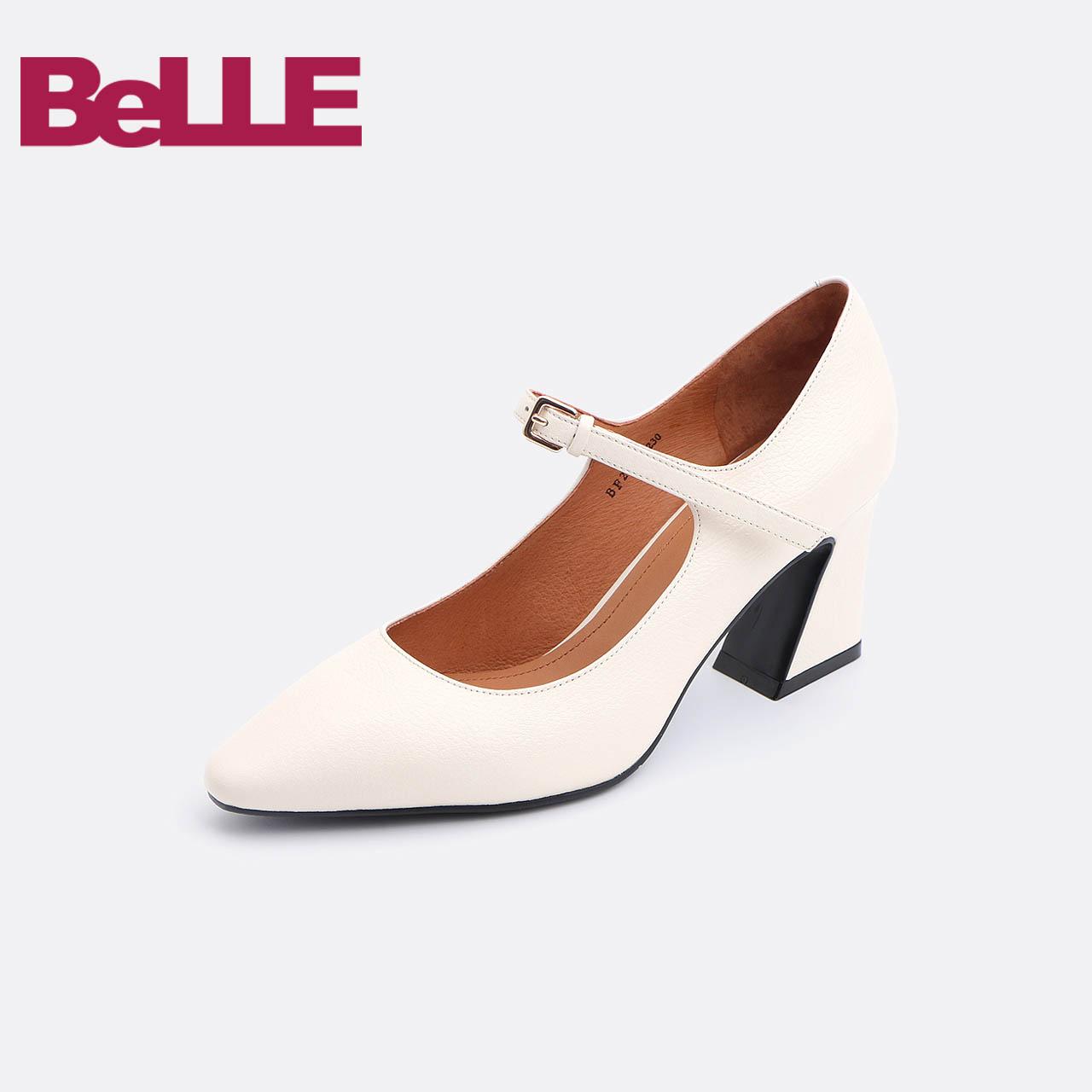 百丽玛丽珍鞋2018秋商场同款牛皮复古粗跟女单鞋BF201CQ8