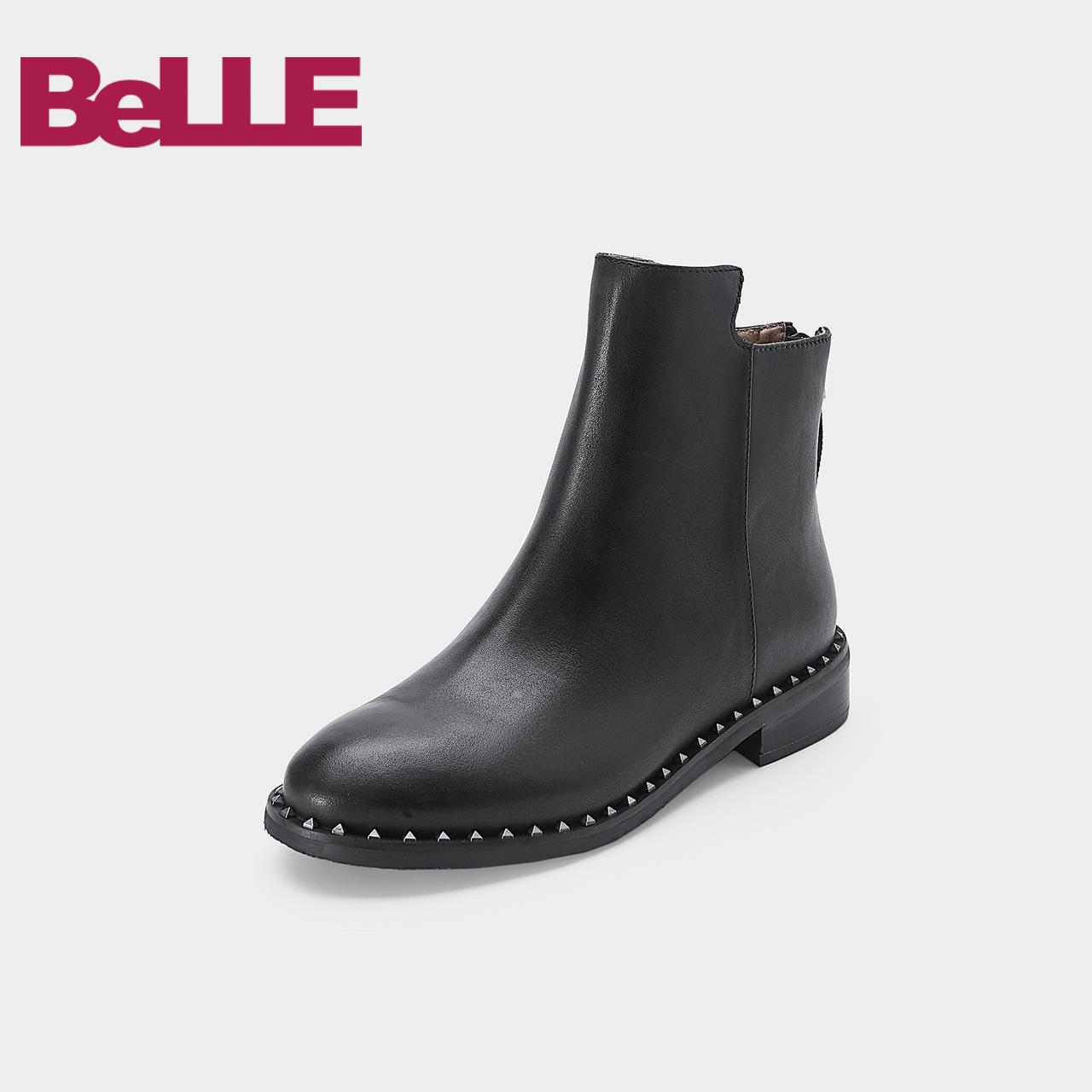 Belle-百丽冬专柜同款油皮牛皮革女短靴 单里-绒里BKD53DD7