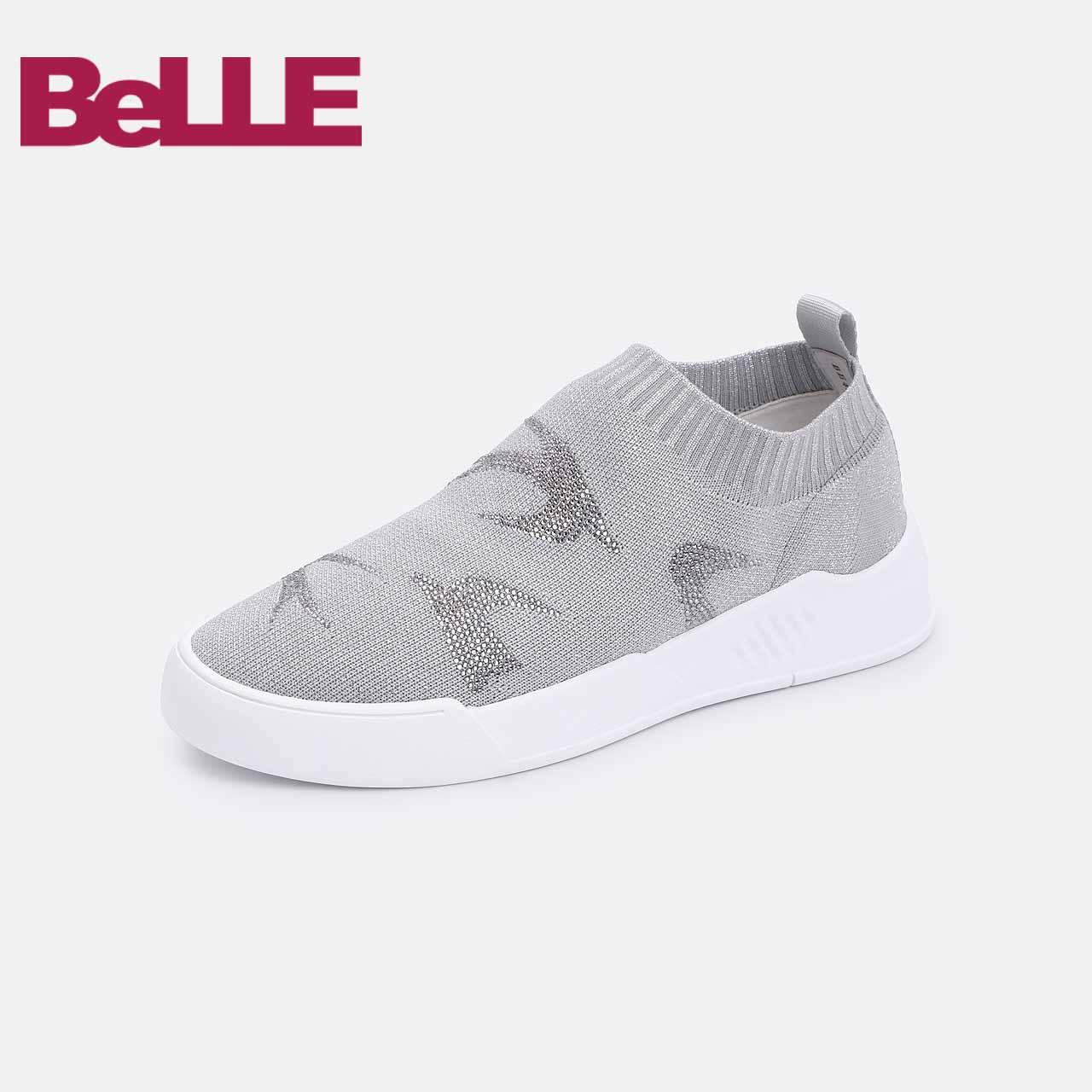 百丽休闲鞋2018秋商场同款飞织袜套女鞋透气平底板鞋BE420CM8