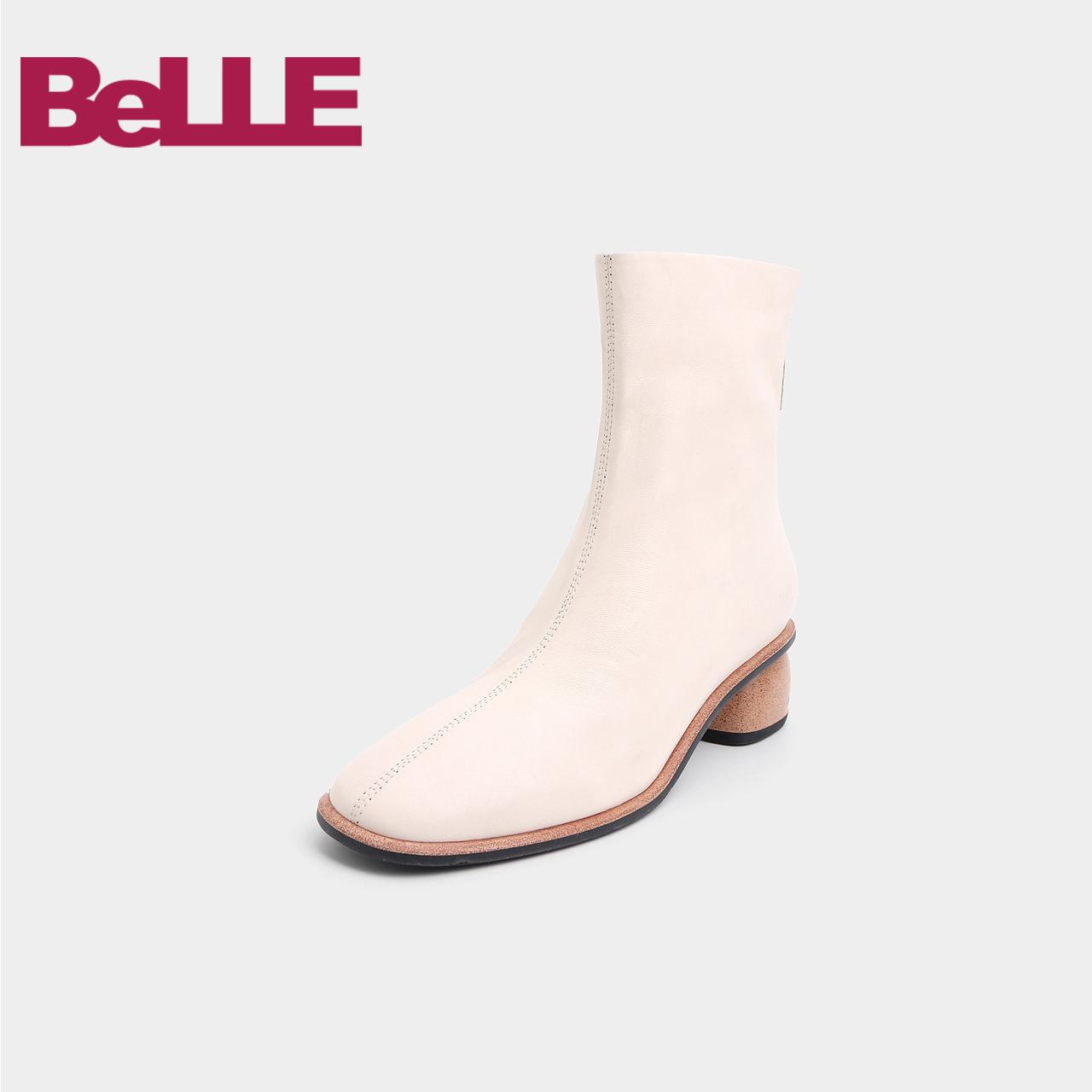百丽女鞋2018冬新款简约羊皮女短靴89129DD8