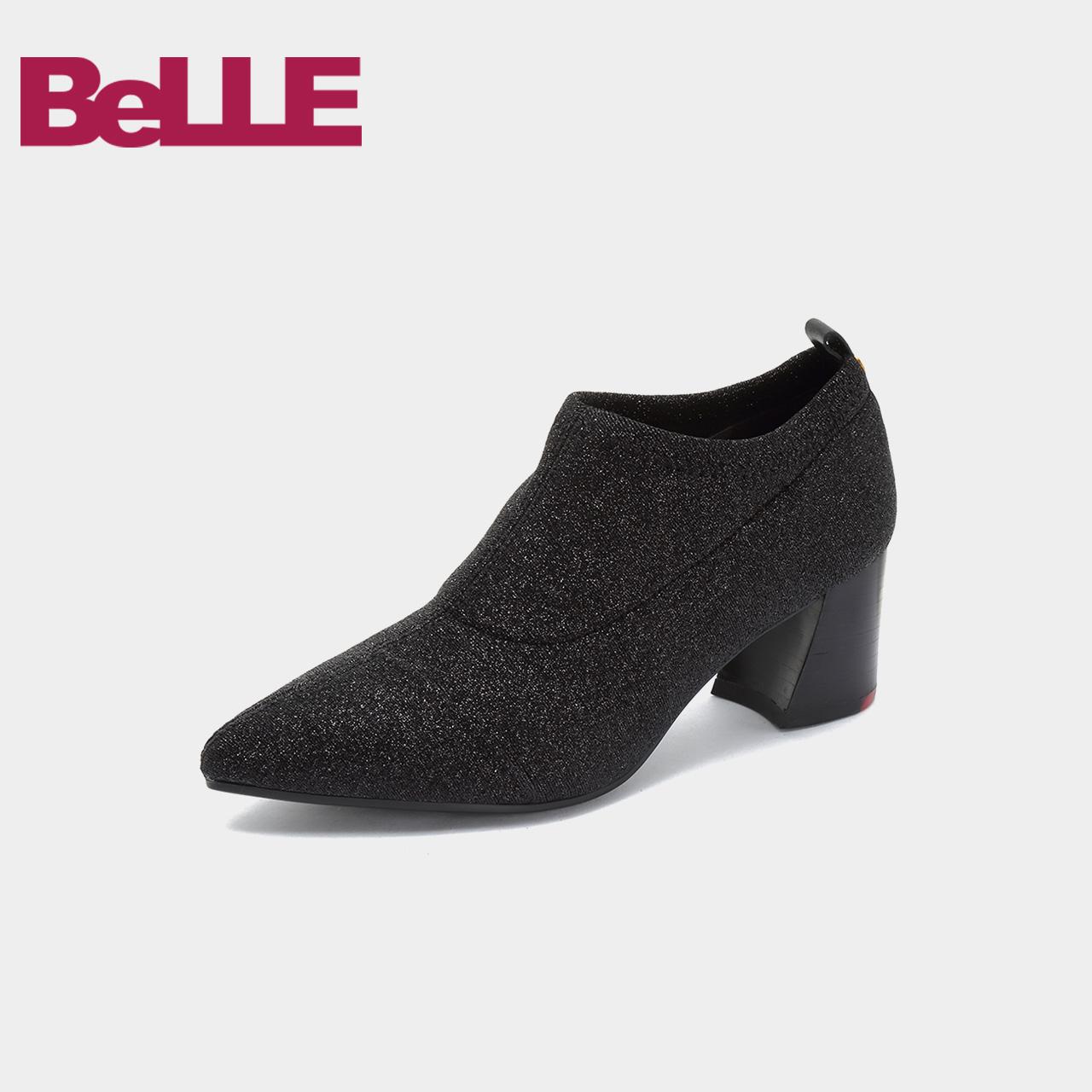 Belle-百丽2018秋商场同款闪光粗高跟尖头女单鞋BYN25CM8