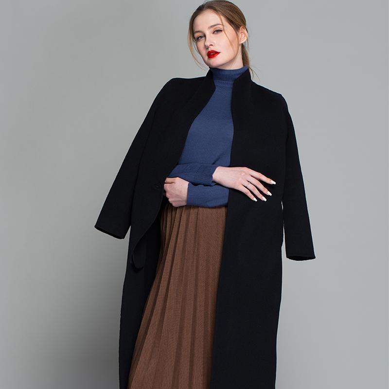 JOYO-祖儿羊绒羊毛立领修身长款双面呢手工大衣