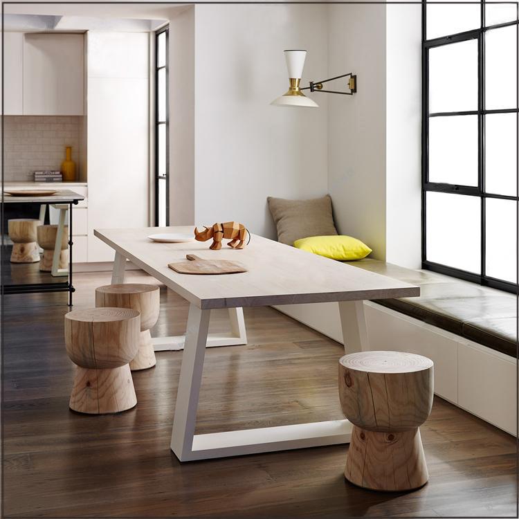 铁艺实木桌子现代简约长方形桌子台式电脑桌办公桌大板桌简易书桌