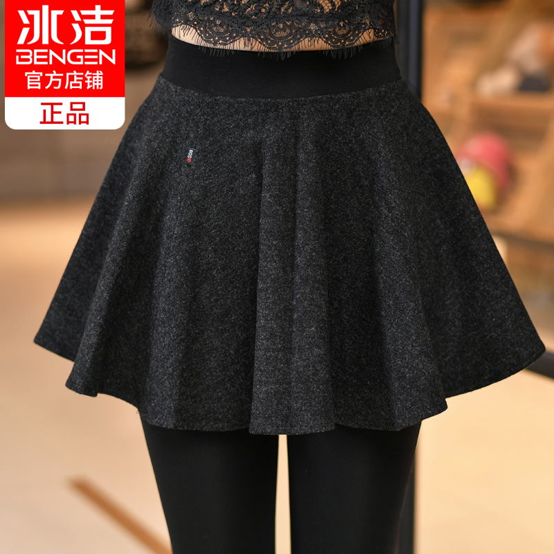 Ice fake two pieces of leggings skirt pants autumn and winter plus velvet thick woolen pants skirt Korean version of the large size cotton pants