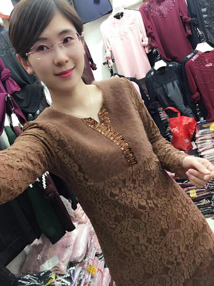 Блузка Мозаика норки бархата кружева и шерсти базовый рубашка длинный положить в женская с длинным рукавом v шеи тощий для теплое пальто осень/зима