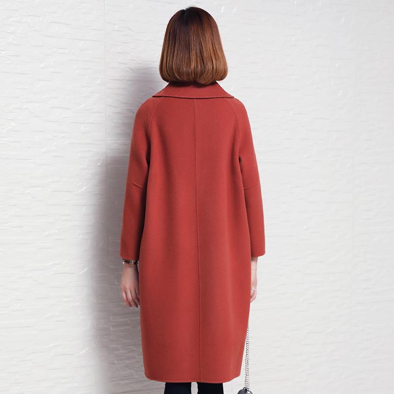 2018新款毛呢大衣女中长款反季双面呢赫本风羊毛呢子外套零羊绒
