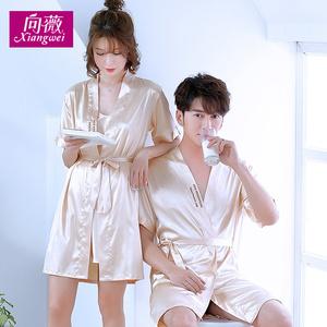 马来西亚睡衣批发韩版情侣睡袍夏季男士丝绸睡衣浴袍冰丝女睡裙吊带两件套家居服