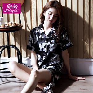 丝绸睡衣女夏季韩版薄款春夏丝质女冰丝大码短袖家居服套装两件套