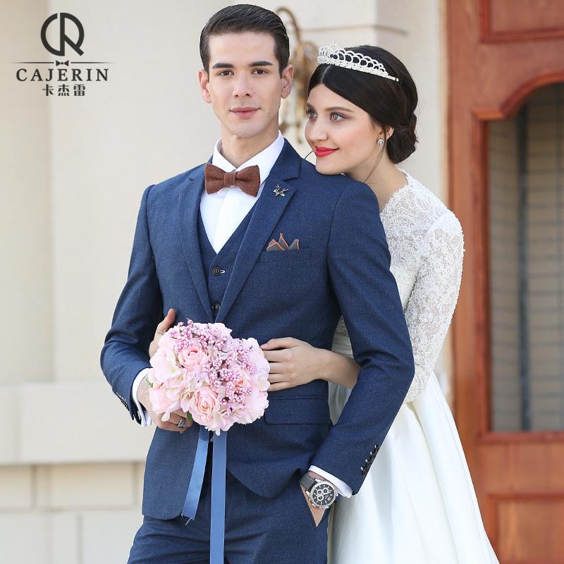 西服套装男婚礼秋冬季正装西装休闲英伦伴郎新郎服装结婚潮流男士
