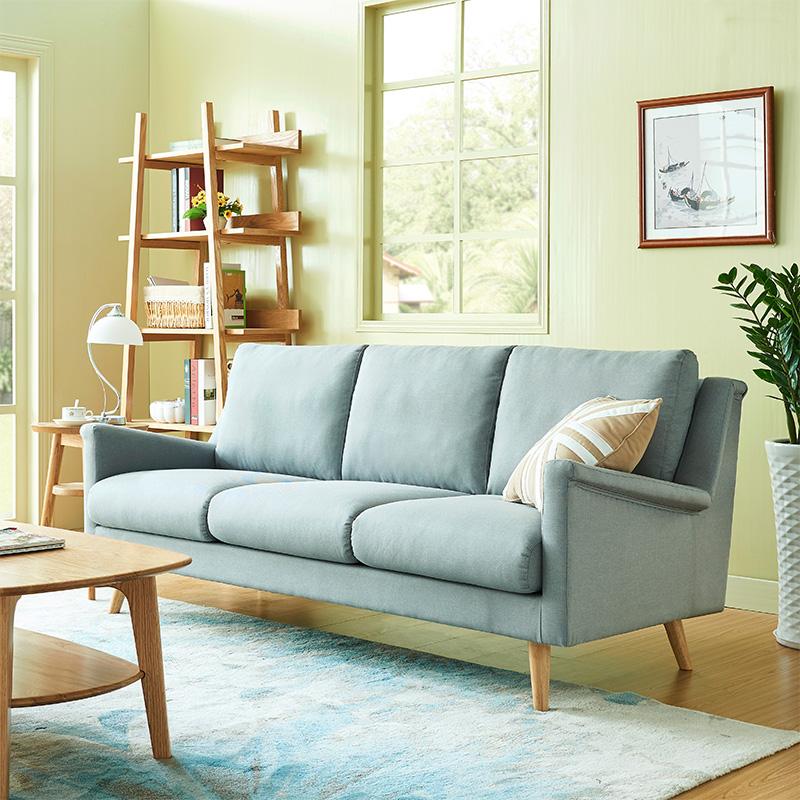北欧三人简约沙发布艺小户型日式风格现代客厅组合卧室双人位沙发