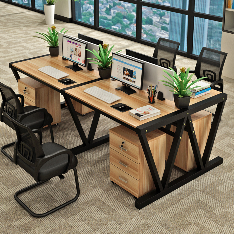 Staff Desk 4 Person Computer Desk And Chair Combination Simple Office  Furniture 246 People Work Screen Card