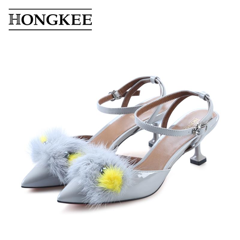 Hongkee-红科尖头凉鞋牛漆皮貂毛可爱高跟包头中后空女鞋H038S202