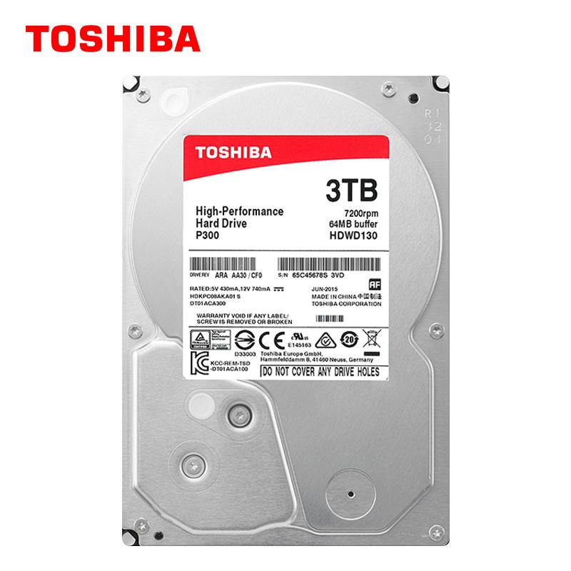 东芝P300系列 台式机电脑机械硬盘3T 7200转 64M缓存 3.5英寸 盒装3tb 可监控