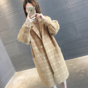 仿水貂绒很仙的外套女秋冬装2018新款韩版毛衣女宽松中长款大衣冬