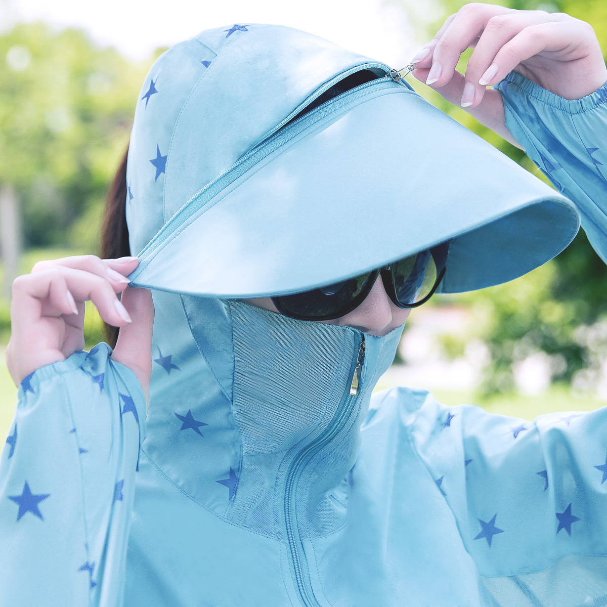 拆卸帽檐防晒衣女UPF50+防紫外线中长款韩版透气网纱防晒服薄外套