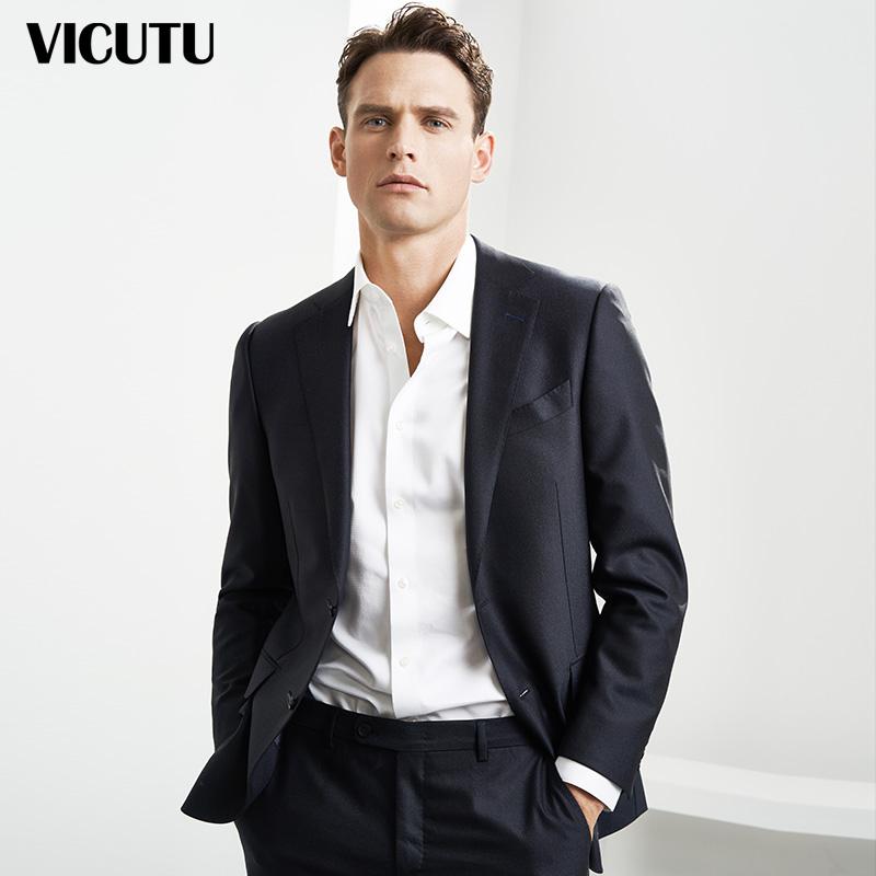 VICUTU-威可多西装男套装上装羊毛桑蚕丝混纺正装新郎服装结婚男