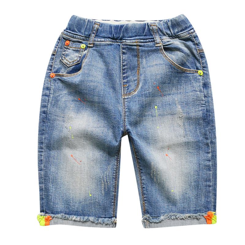 左西男童夏装裤子2020新款儿童短裤牛仔裤薄款洋气马裤夏季韩版潮