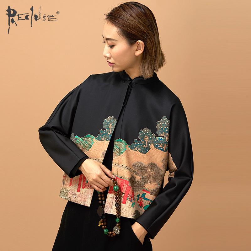 RECLUSE青城- 复古印花改良唐装蝙蝠袖中式立领设计短外套
