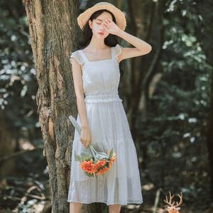 6450#【现货实拍】气质吊带雪纺连衣裙