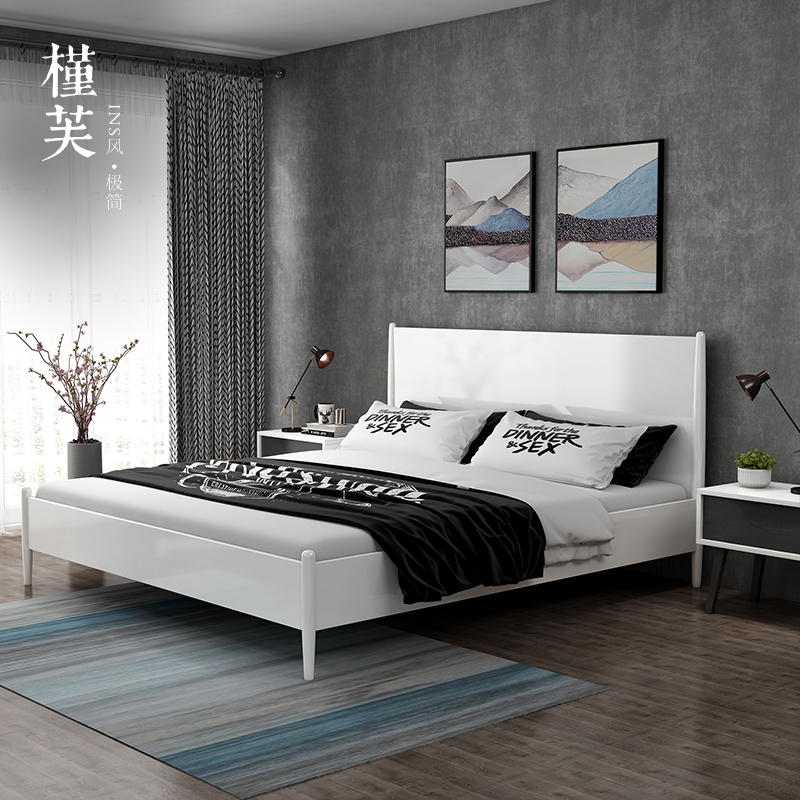 北欧现代简约1.5-1.8m双人床成人主卧白色卧室婚床日式极简储物