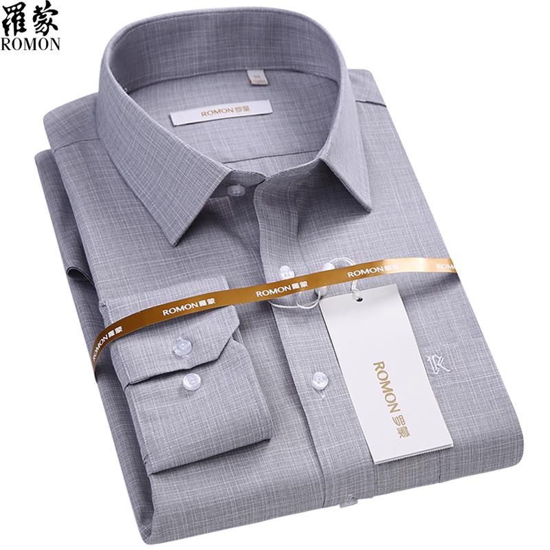 罗蒙男士衬衣长袖春秋季新款中年爸爸装商务休闲时尚灰衬衫