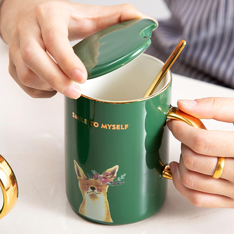 喝水杯办公室女森系马克杯带盖勺北欧ins大容量陶瓷杯子咖啡杯