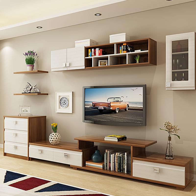 茶几电视柜电视机墙柜组合背景墙客厅整体现代简约壁挂墙柜置物架