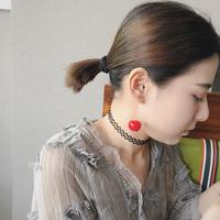 小猪姐姐同款日系红色渐变樱桃耳环 ins少女趣味仿真车厘子耳坠夹