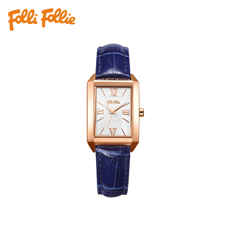 Folli Follie芙丽手表欧美轻奢时尚方形牛皮石英女士手表WF17R017