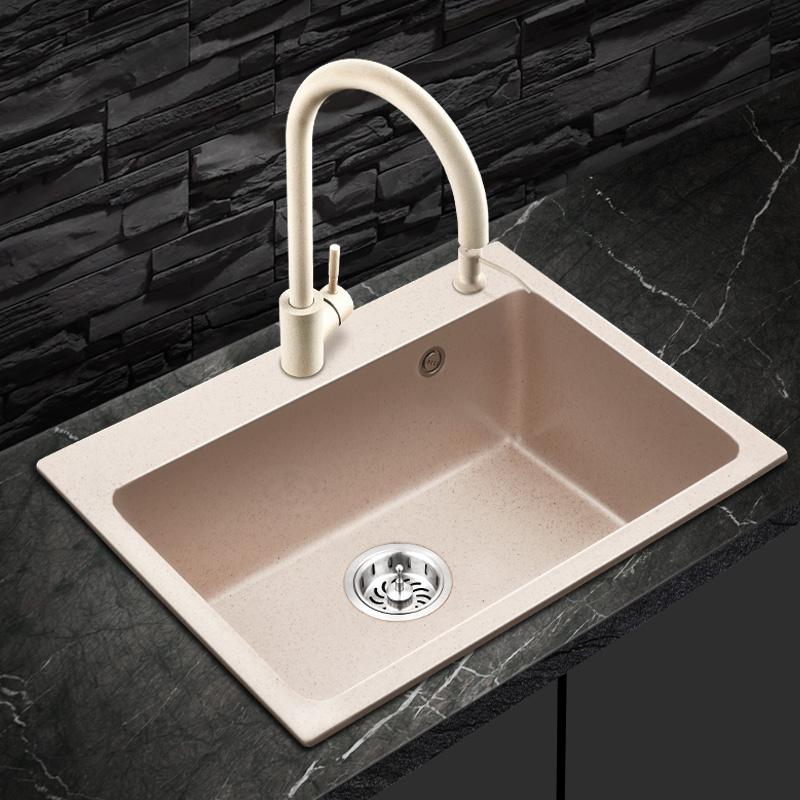 PULT石英石水槽单槽套餐一体成型厨房手工大水池加厚花岗岩洗菜盆