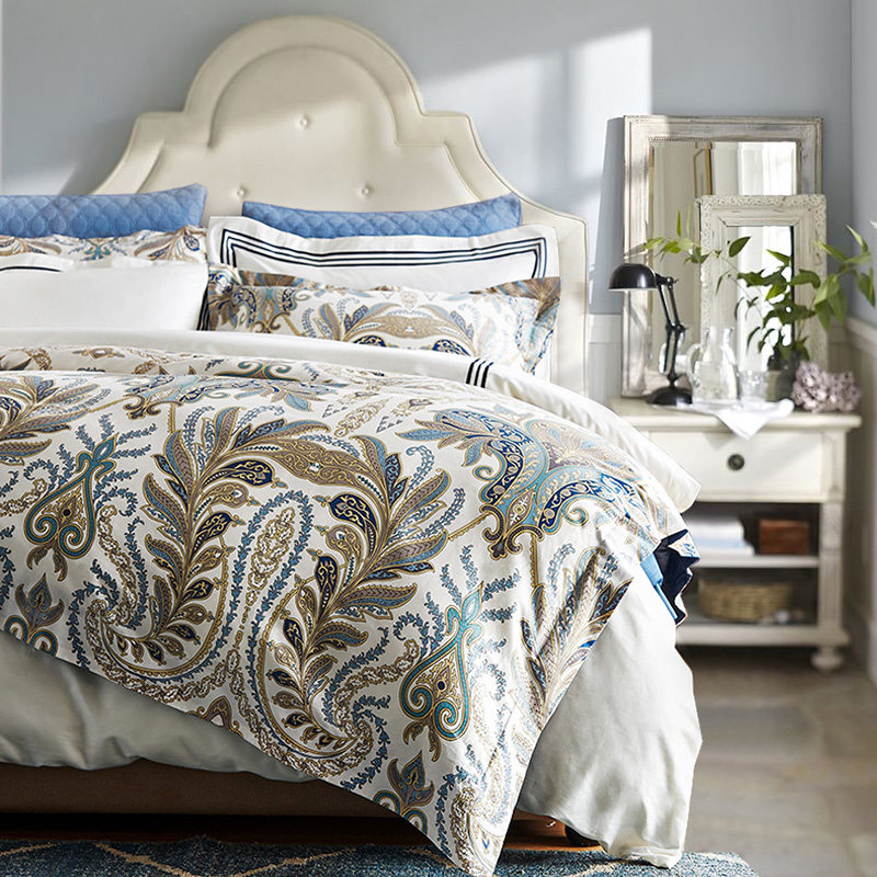 mido house美式经典60支贡缎长绒棉四件套 全棉被套床单床上用品