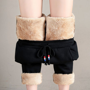 运动裤女冬季外穿保暖裤宽松羊羔绒加绒加厚哈伦萝卜休闲裤子棉裤