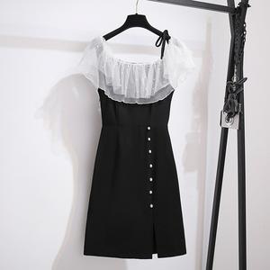 实拍2020夏季大码胖MM雪纺拼接珍珠减龄遮肚子连衣裙