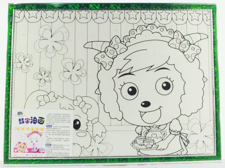 数字油画30*40带12色丙烯颜料儿童diy卡通手绘涂鸦画水粉画