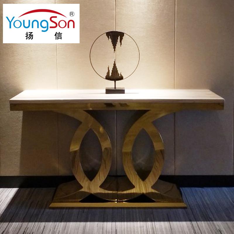 扬信家具 欧式大理石玄关桌 钛金色不锈钢轻奢后现代玄关台墙边柜