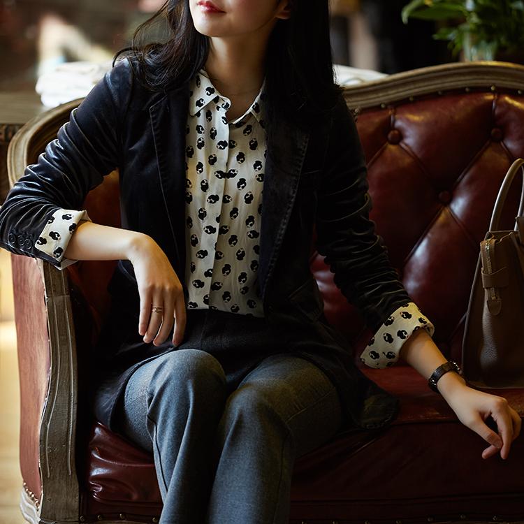 [A595660] 笑涵阁 复古收腰长袖丝绒西装外套2018新款女装春装