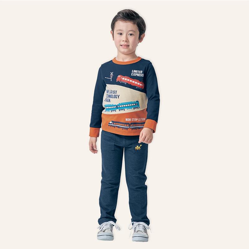 千趣会童装2018秋季新款中大童卡通图案上衣棉质长袖T恤E31502