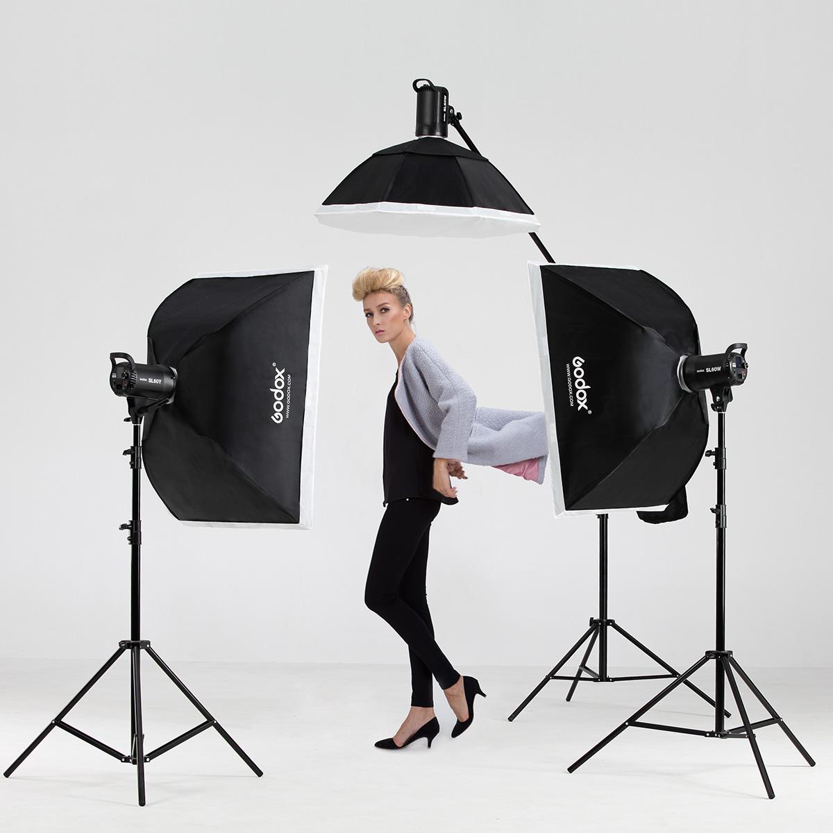 神牛sl60w太阳灯led摄影摄像常亮视频灯光 人像摄影棚三灯套装